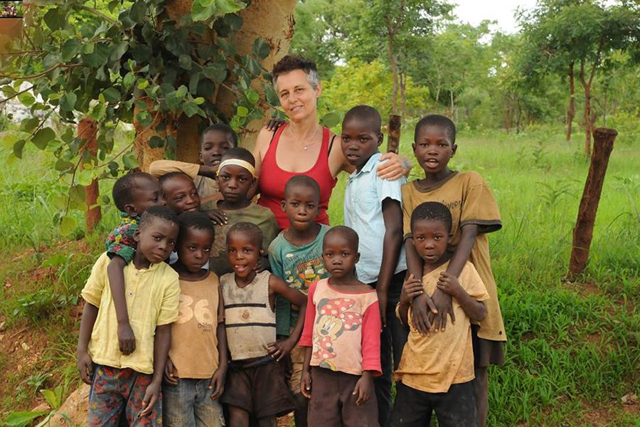 Vicky with some of the children in the village